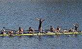 The Victorian crew celebrates after winning the Mens Eight during the Sydney International Rowing Regatta on March 29 2015 in Penrith Australia