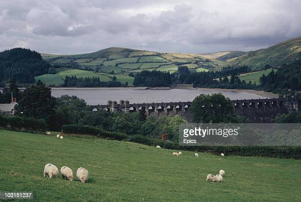 The Victorian reservoir of Lake Vyrnwy in Wales August 1970 The stone dam was built between 1881 and 1888