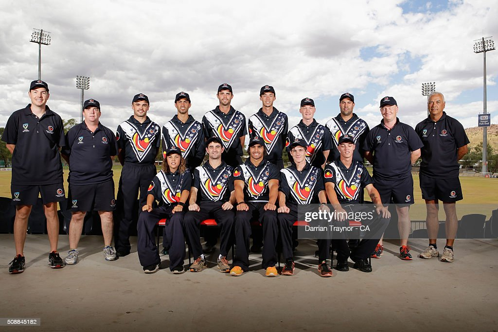 The Victorian team pose for a photo on media day during the National Indigenous Cricket Championships on February 7, 2016 in Alice Springs, Australia.