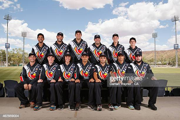The Victorian team pose for a team before the 20415 Imparja Cup on February 8 2015 in Alice Springs Australia