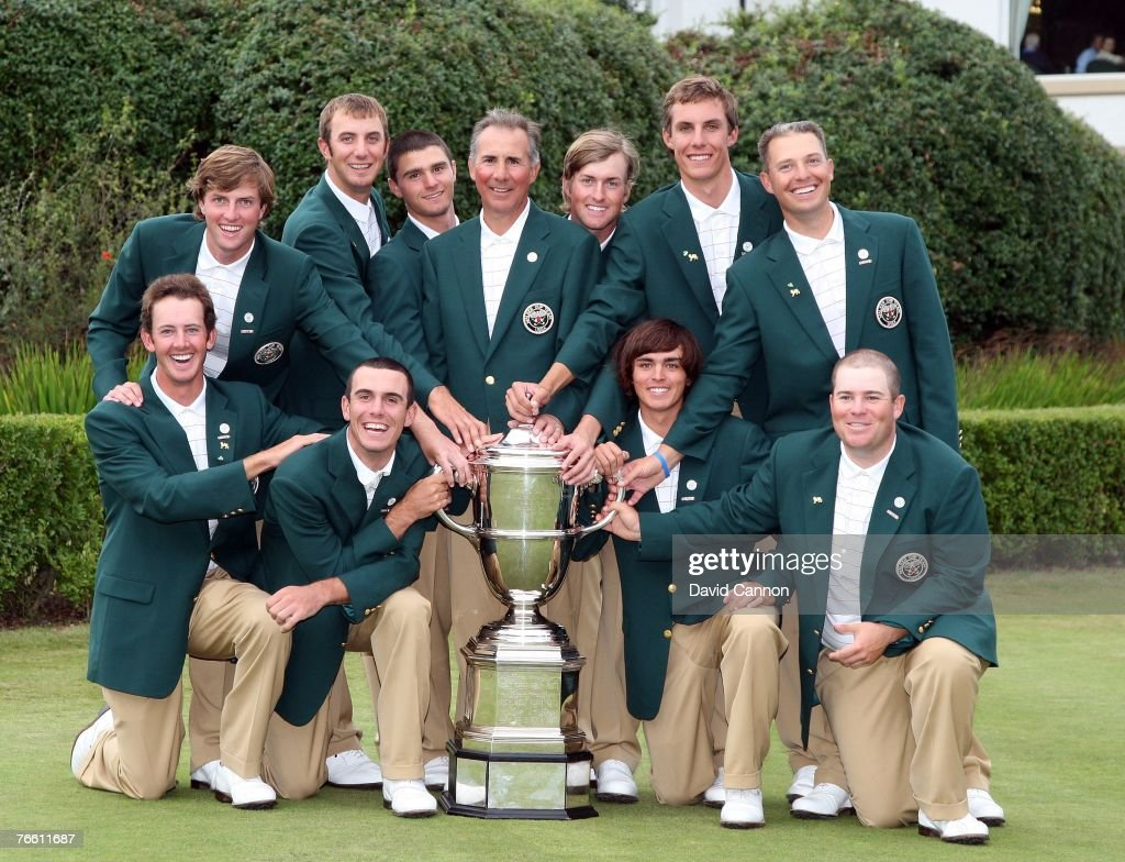 The victorious American team with the Walker Cup (L-R kneeling) Jonathan Moore, <a gi-track='captionPersonalityLinkClicked' href=/galleries/search?phrase=Billy+Horschel&family=editorial&specificpeople=565390 ng-click='$event.stopPropagation()'>Billy Horschel</a>l, Rickie Fowler, Colt Knost, (L-R standing) <a gi-track='captionPersonalityLinkClicked' href=/galleries/search?phrase=Chris+Kirk&family=editorial&specificpeople=3973095 ng-click='$event.stopPropagation()'>Chris Kirk</a>, Dustin Johnson, Kyle Stanley, Buddy Marucci (captain), Webb Simpson, Jamie Lovemark and Trip Kuehne at the end of the 2007 Walker Cup Matches held on the links of the Royal County Down Golf Club on September 9, 2007 in Newcastle, Co Down, Northern Ireland.