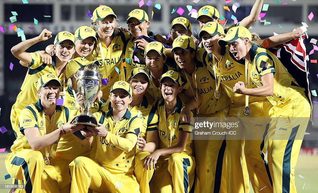 The victorious Australian team after defeating the West Indies the final between Australia and West Indies of the Women's World Cup India 2013 played at the Cricket Club of India ground on February 17, 2013 in Mumbai, India.