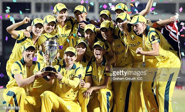 The victorious Australian team after defeating the West Indies the final between Australia and West Indies of the Women's World Cup India 2013 played...