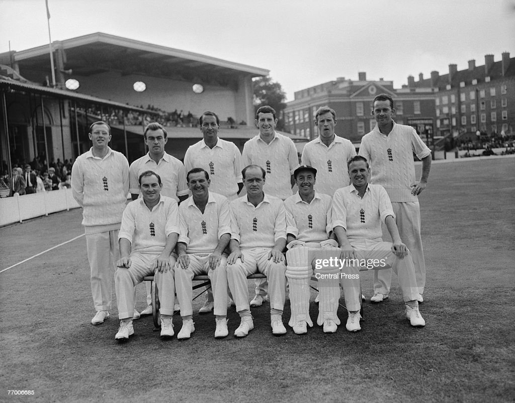 The victorious England team after winning the fifth and final test against the West Indies by an innings and 54 runs at the Oval, London, 22nd August 1966. Back row, left to right: Geoff Boycott, John Edrich, Basil D'Oliveira, Dennis Amiss and Bob Barber. Front row, left to right: Ray Illingworth, Tom Graveney, <a gi-track='captionPersonalityLinkClicked' href=/galleries/search?phrase=Brian+Close+-+Cricket+Player&family=editorial&specificpeople=15045770 ng-click='$event.stopPropagation()'>Brian Close</a> (captain), John Murray and Ken Higgs.