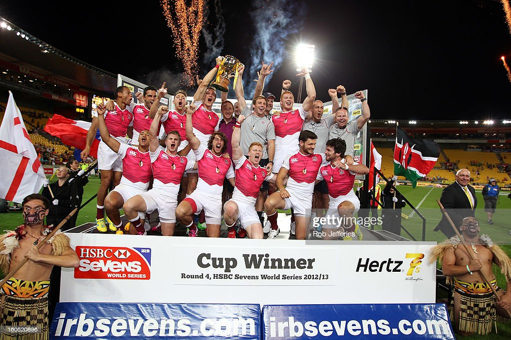 The victorious England team celebrates after winning the Hertz Sevens, Round four of the HSBC Sevens World Series Westpac Stadium on February 2, 2013 in Wellington, New Zealand.