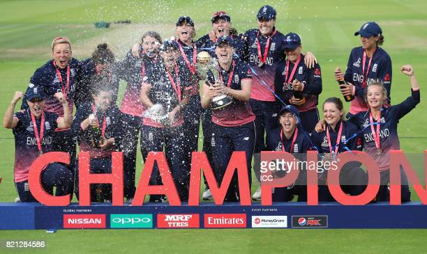 The victorious England teamcelebrate after winning The ICC Women's World Cup 2017 Final between England and India at Lord's Cricket Ground on July 23...