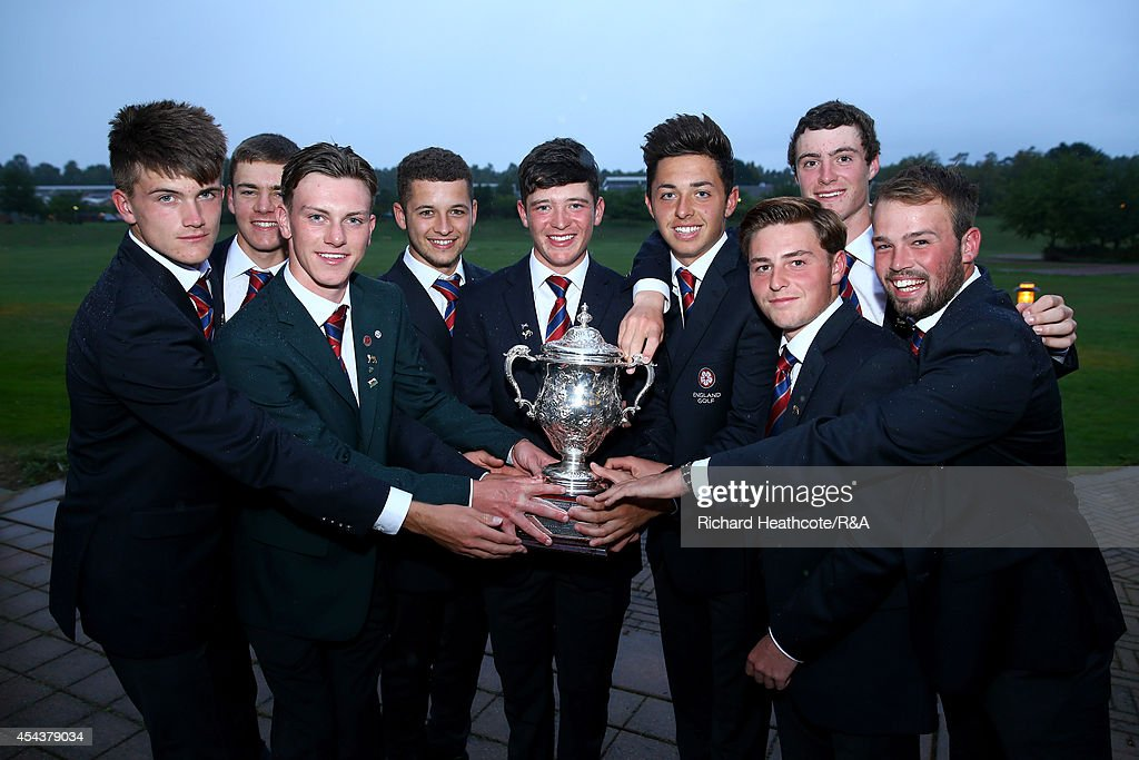 The victorious Great Britain and Ireland team pose with the trophy after the final day of the Jacques Trophy at Barseback Golf & Country Club on August 30, 2014 in Loddekopinge, Sweden.