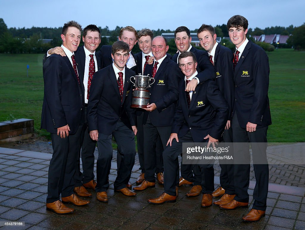 The victorious Great Britain and Ireland team pose with the trophy after the final day of the St Andrews Trophy at Barseback Golf & Country Club on August 30, 2014 in Loddekopinge, Sweden.