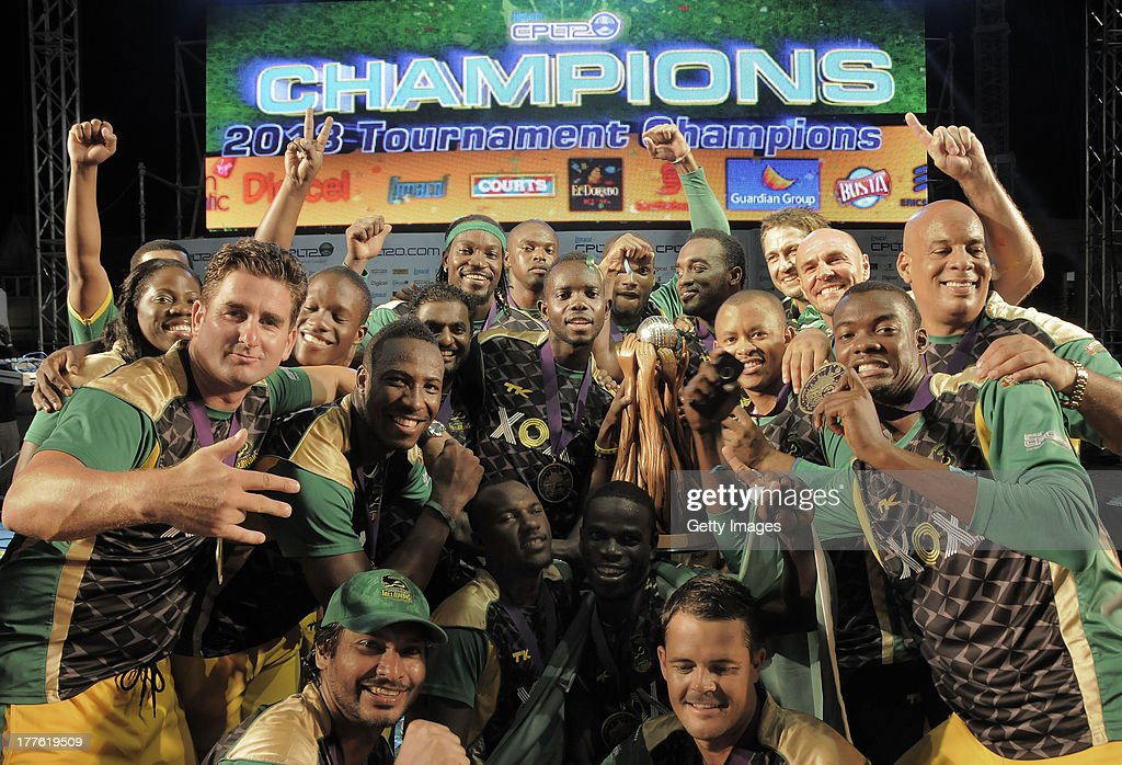 The victorious Jamaica Tallawahs celebrate after winning the Final of the Cricket Caribbean Premier League between Guyana Amazon Warriors v Jamaica Tallawahs at Queen's Park Oval on August 24, 2013 in Port of Spain, Trinidad and Tobago.