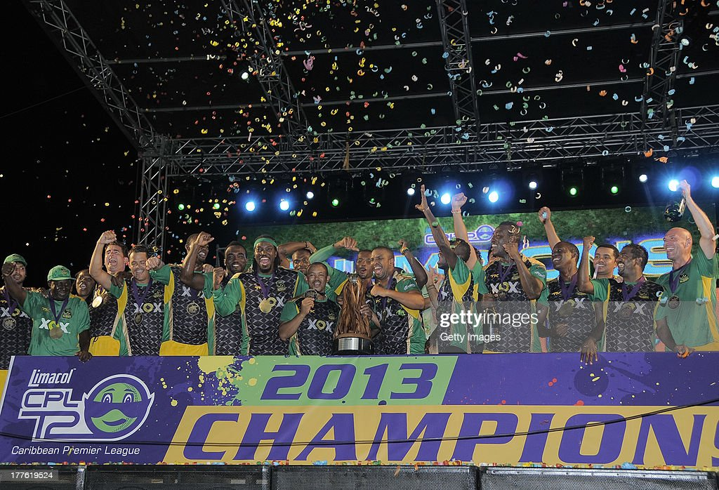 The victorious Jamaica Tallawahs celebrating after winning the Final of the Cricket Caribbean Premier League between Guyana Amazon Warriors v Jamaica Tallawahs at Queen's Park Oval on August 24, 2013 in Port of Spain, Trinidad and Tobago.