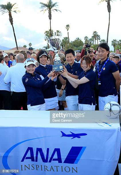 The victorious Japan Team celebrate with the trophy Ayako Uehara Shiho Oyama Ayumi Kaihori and Yayoi Kobayashi during the ANA Footgolf Faceoff...
