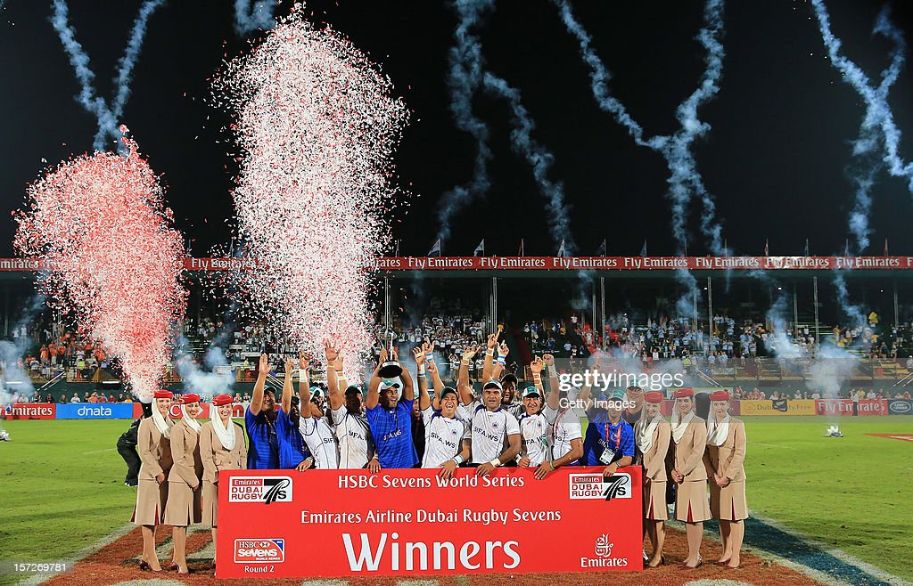 The victorious Samoa Sevens Team celebrate with the trophy after win against New Zealand in the final during the Dubai Sevens, Round 2 of the HSBC Sevens World Series on December 1, 2012 in Dubai, United Arab Emirates.