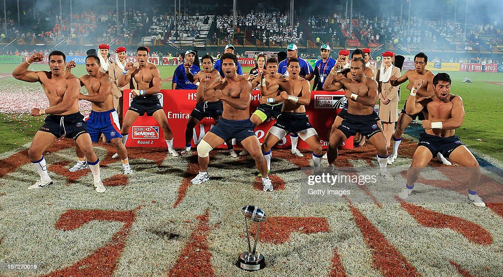 The Victorious Samoan team celebrate with the trophy after their win over New Zealand in the final during the Emirates IRB Dubai Sevens, Round 2 of the HSBC Sevens World Series on December 1, 2012 in Dubai, United Arab Emirates.