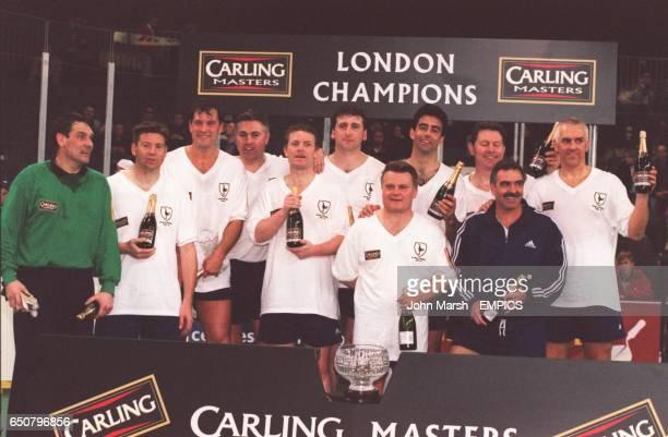 The victorious Tottenham Hotspur team celebrate Milija Aleksic Chris Waddle Glenn Hoddle Paul Miller Micky Hazard Mark Falco Gary Brook Gary Stevens...