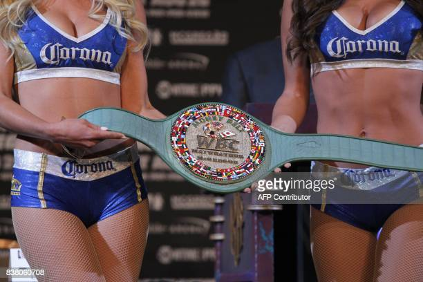 The victor's belt is displayed during a press conference with boxer Floyd Mayweather Jr and MMA figher Connor Mcgregor on August 23 2017 at the MGM...