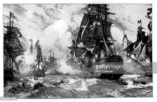 The 'Victory' at the Battle of Trafalgar 19th Century Battle of Trafalgar 21 October 1805 Scene from the famous naval battle in which Lord Nelson...