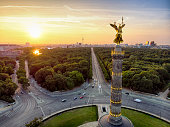 The Victory Column at the Tiergarten in Berlin during sunrise