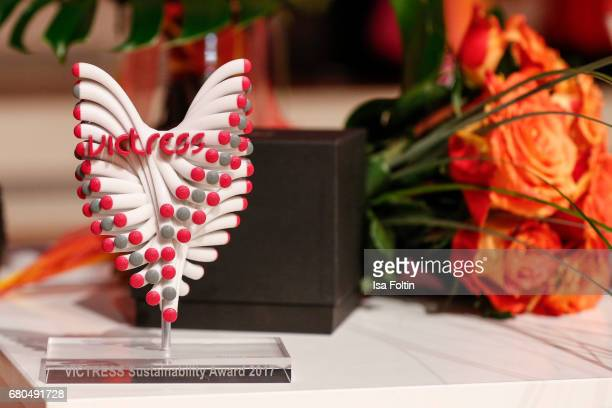 The Victress Award trophy is seen on May 8 2017 in Berlin Germany