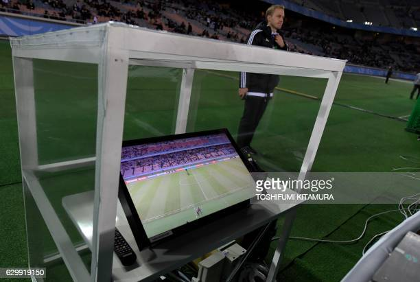The video assistant referee system is placed beside the pitch prior to the Club World Cup semifinal football match between Mexico's Club America and...