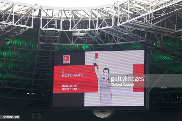 The video board shows referee rules during the Bundesliga match between Borussia Moenchengladbach and 1 FC Koeln at BorussiaPark on August 20 2017 in...