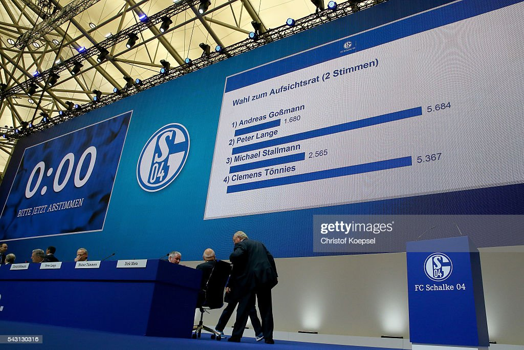 The video board shows the result of the member of the board elections during the FC Schalke 04 general assembly at Veltins Arena on June 26, 2016 in Gelsenkirchen, Germany.