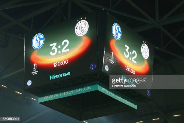 The video boards shows the result of the UEFA Europa League quarter final second leg match between FC Schalke 04 and Ajax Amsterdam at VeltinsArena...