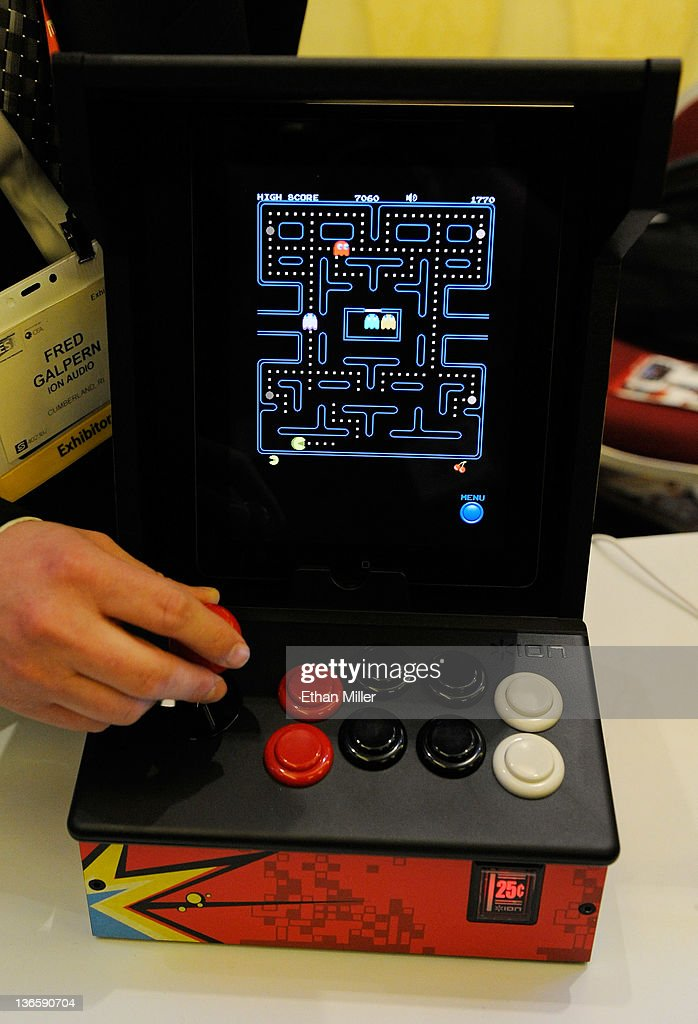 The video game Pac-Man is played on an iCade by Ion Audio during a press event at The Venetian for the 2012 International Consumer Electronics Show (CES) January 8, 2012 in Las Vegas, Nevada. Users can play video games on their iPads using the device. Currently more than 250 games are available and software developers can make their games work with the iCade for free. CES, the world's largest annual consumer technology trade show, runs from January 10-13 and is expected to feature 2,700 exhibitors showing off their latest products and services to about 140,000 attendees.