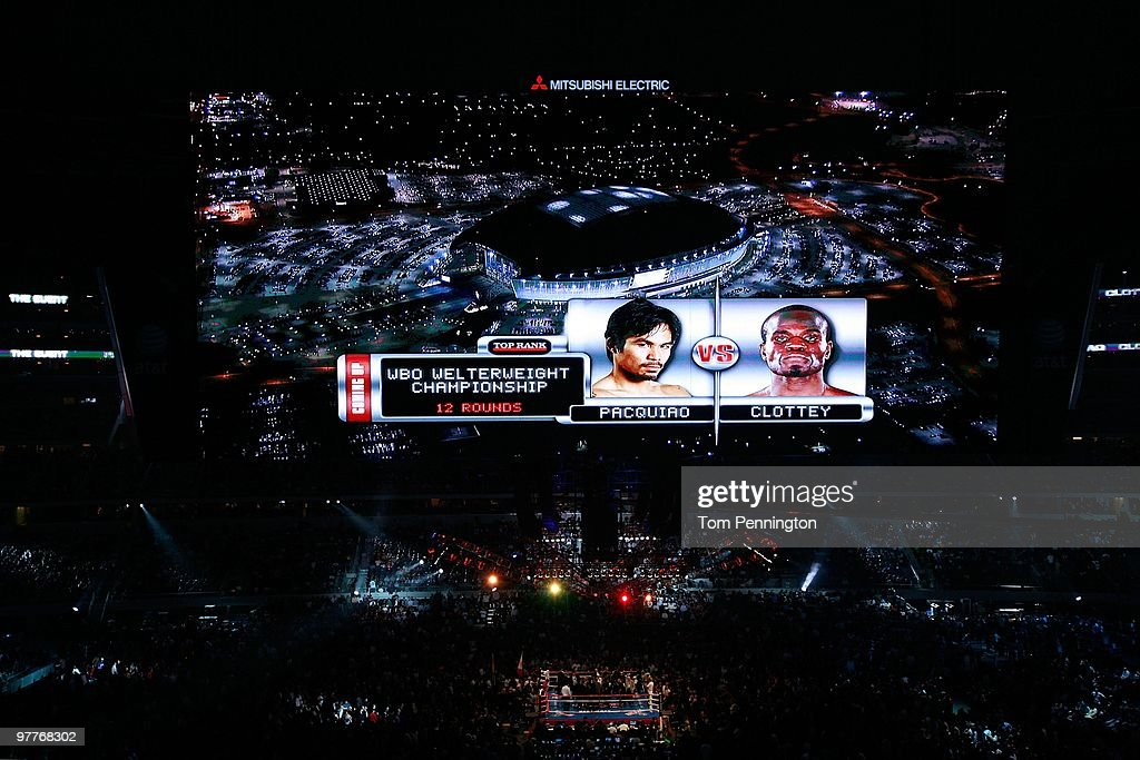 The video screen previews the fight between Manny Pacquiao of the Philippines and Joshua Clottey of Ghana before their WBO welterweight title fight at Cowboys Stadium on March 13, 2010 in Arlington, Texas.