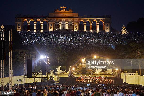 The Vienna Philharmonic Orchestra performs on stage during the Schoenbrunn Concert in the Schoenbrunn Castle parque on May 24 in Vienna Austria