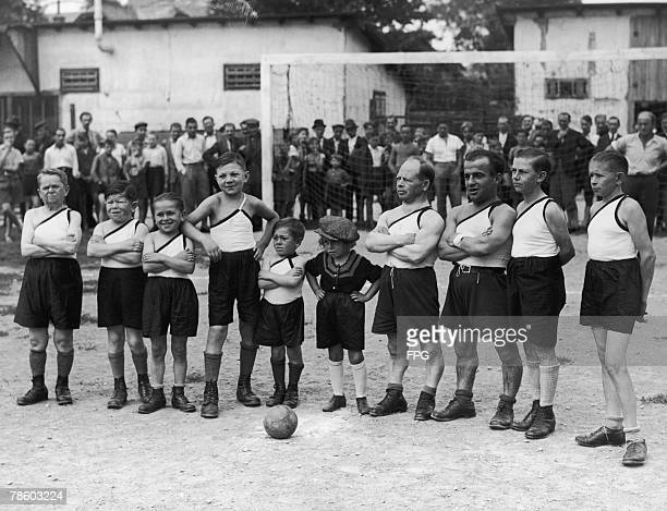 The 'Viennese Lilliputians' take part in a football match at the Prater Stadium in Vienna circa 1920