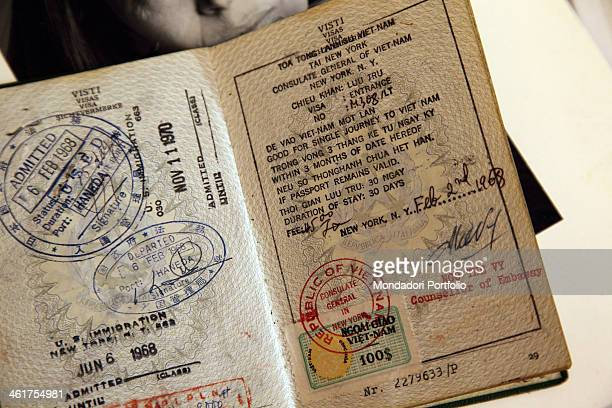 The Vietnam visa on the passport belonging to the writer and journalist Oriana Fallaci kept at home by Edoardo Perazzi writer's nephew and sole heir...