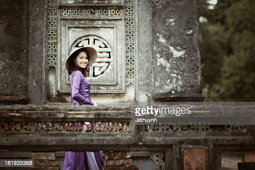 The Vietnamese Girl with Violet Ao Dai