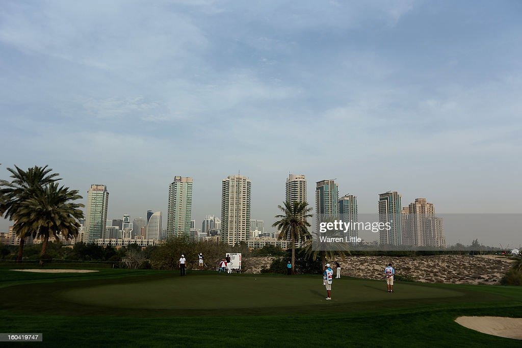 The view across the eighth green during the first round of the Omega Dubai Desert Classic at Emirates Golf Club on January 31, 2013 in Dubai, United Arab Emirates.