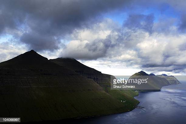 The view as seen from a helicopter flying over a beautiful landscape in the northern islands of the Faroe Islands on July 31 2007 Atlantic Airways is...