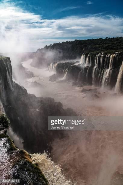 The view down Rio Iguazu from the Garganta del Diablo (Devil's Throat), Iguazu Falls (UNESCO World Heritage Site) on Argentinian side, Iguazu, Argentina