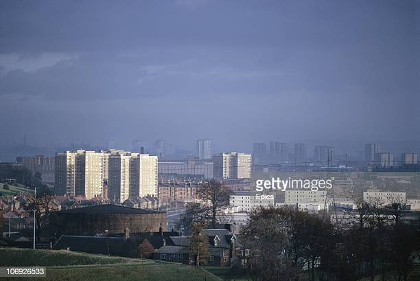The view east over Glasgow housing from Erskine bridge Glasgow Scotland November 1970