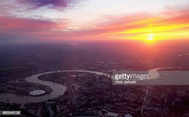 The view from a British Airways aircraft over the City of London as it comes in to land at Heathrow Airport on December 11 2017 in London England A...