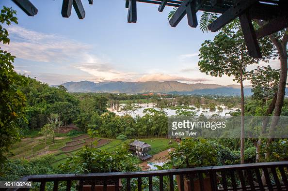 The view from a guest room balcony at the Anantara Golden Triangle a resort in Thailand's far north that borders Burma and Laos The resort has an...