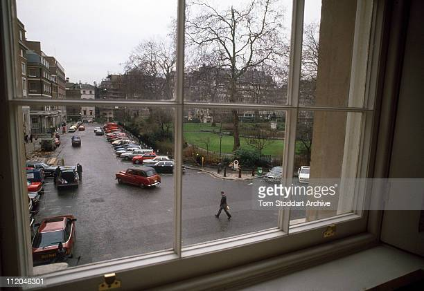 The view from a window of the former Libyan Embassy overlooking the spot in St James Square where Policewoman Yvonne Fletcher was shot and killed in...