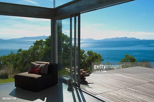 SWANSEA TASMANIA AUSTRALIA The view from Avalon Coastal Retreat a three bedroom luxury villa accommodation near Swansea Tasmania