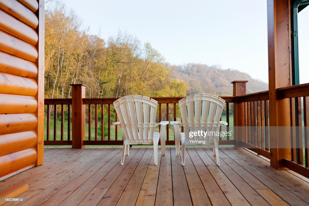 The View From Balcony Deck Of A Log Cabin Home Stock Photo