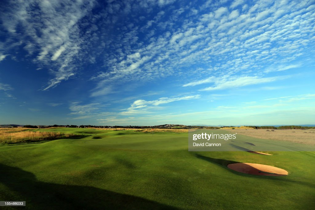 The view from behind the green on the par 5 5th hole at The Honourable Company of Edinburgh Golfers at Muirfield on August 31 in Gullane Lothian...