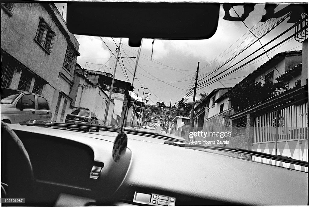 The view from inside a car driving through Artigas one of the many slums in Caracas the traditional strongholds of the 'colectivos' in the city...