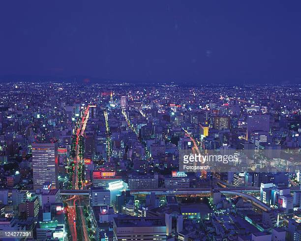 The View from JR Central Towers, Nagoya City, Japan, High Angle View, Long Exposure