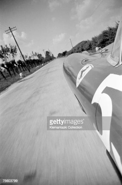 The view from Peter Collins' Ferrari at 180 mph on the way to Brescia from Maranello during the Mille Miglia May 1957