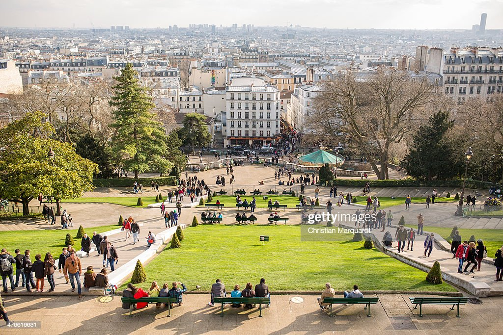 The view from the Basilica Sacre-Coeur on a sunny day on March 1, 2014 in Paris, France. Sacre-Coeur is located on a hill named Montmatre which is also the name of the northern Parisian district.