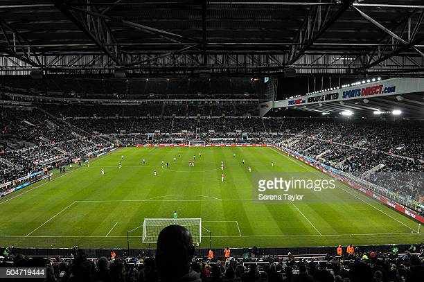 The view from the Gallowgate stand at Newcastle United's Stadium StJames' Park during the Barclays Premier League match between Newcastle United and...
