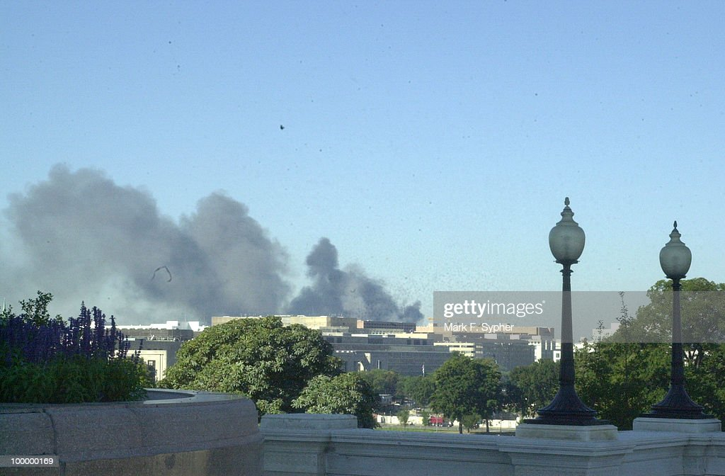 The view from the north west side of the U.S. Capitol, moments after the Pentagon was bombed.