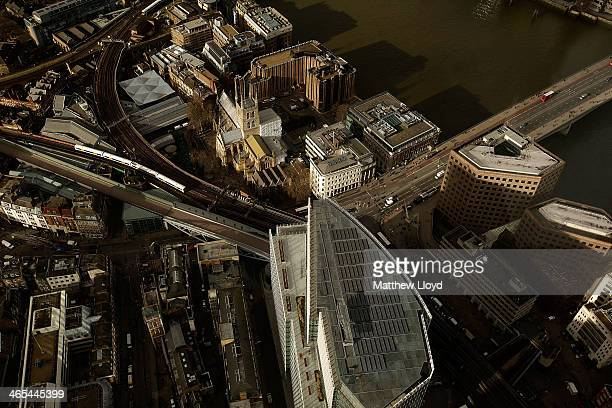 The view from The Shard looking down over The Place nicknamed the 'Baby Shard' and Borough High Street on January 27 2014 in London England A study...
