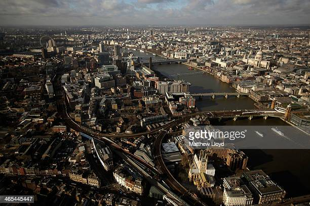 The View from The Shard looking out over Borough High Street towards Blackfriars The Tate and the London Eye on January 27 2014 in London England A...
